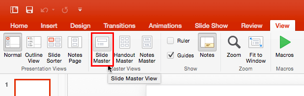 Slide Master button within the View tab of the Ribbon