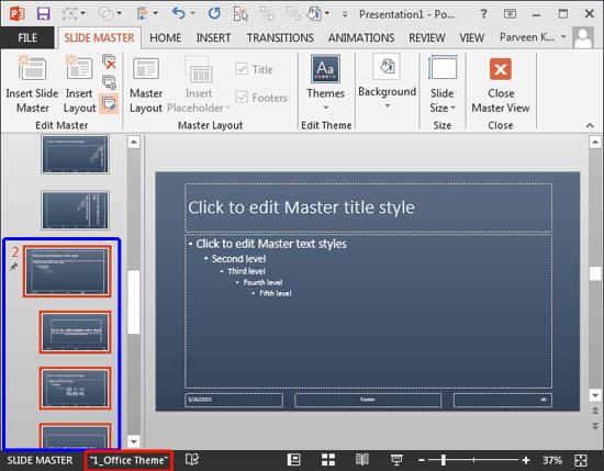 Duplicate copy of Slide Master created