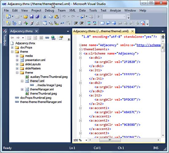 A Theme file opened within Visual Studio 2010