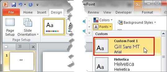 New Theme Fonts set within the Fonts drop-down gallery