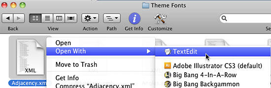 TextEdit option selected