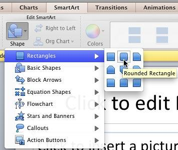 Rounded Rectangle shape selected