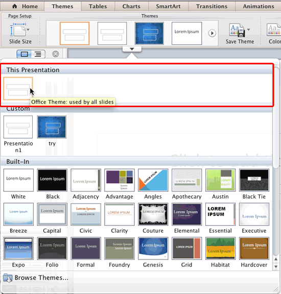 Active Theme and its name displayed within the Themes drop-down gallery
