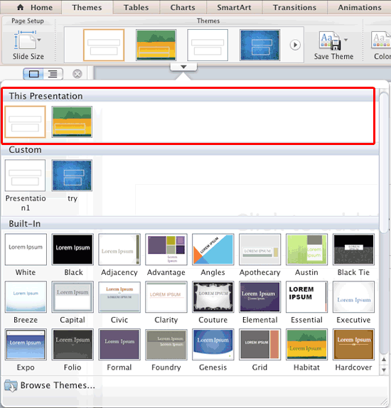 Multiple Themes within the This Presentation section of the Themes drop-down gallery
