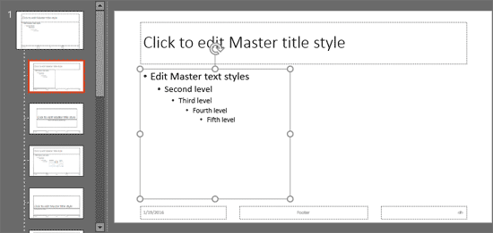 Text Placeholder inserted within the slide layout