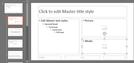 Picture and Media Placeholders inserted within the slide layout