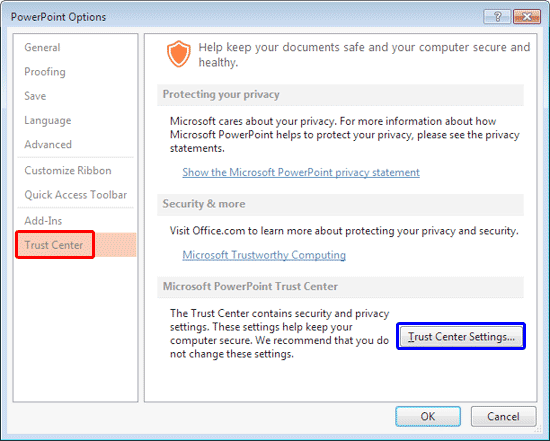 PowerPoint Options dialog box