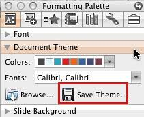 Save Theme button in the Document Theme pane