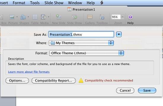 Save Current Theme dialog box