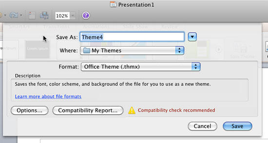 Save Current Theme in PowerPoint 2011