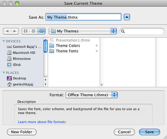 Save Current Theme dialog box in Excel 2011 for Mac