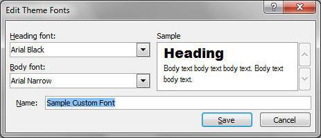 Edit Theme Fonts dialog box
