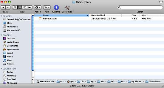 Custom Theme Fonts XML file copied to the local (Mac) User folder