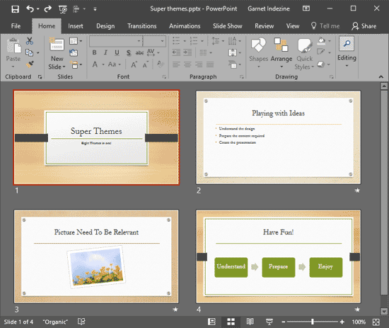 Slides added to Organic Theme presentation