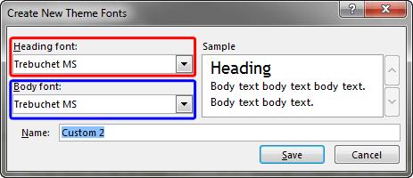 Create New Theme Fonts dialog box