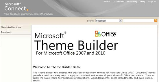 The Microsoft Connect page for Theme Builder (January 2011)