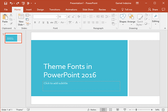 Presentation with a Theme applied