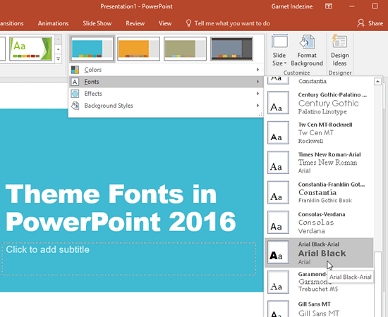 Different Theme Fonts set being selected
