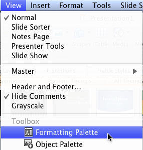 Formatting Palette option to be selected