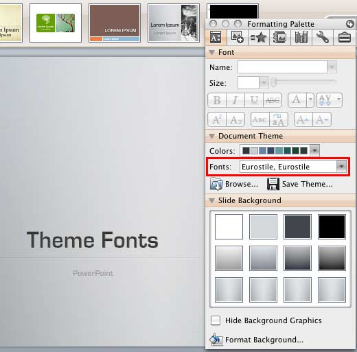 Fonts option within the Formatting Palette