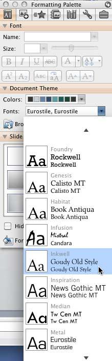 Fonts drop-down list