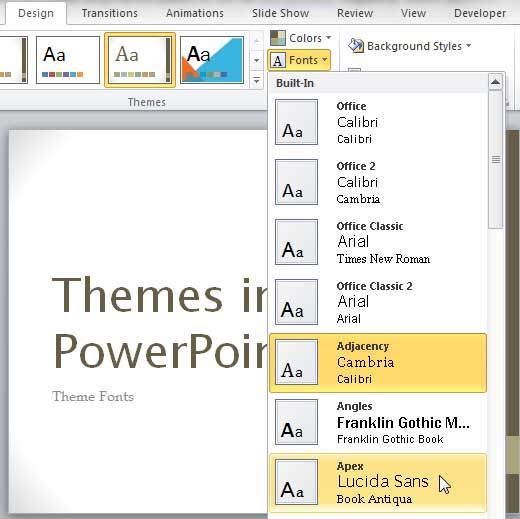 Apex Theme Fonts set being selected