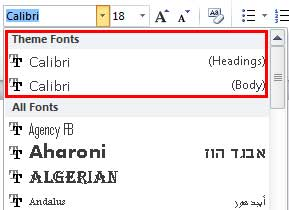 Heading and Body fonts being displayed within the Fonts drop-down list