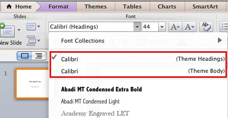 Theme Headings and Theme Body fonts being displayed within the Fonts drop-down gallery