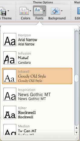 Fonts drop-down gallery