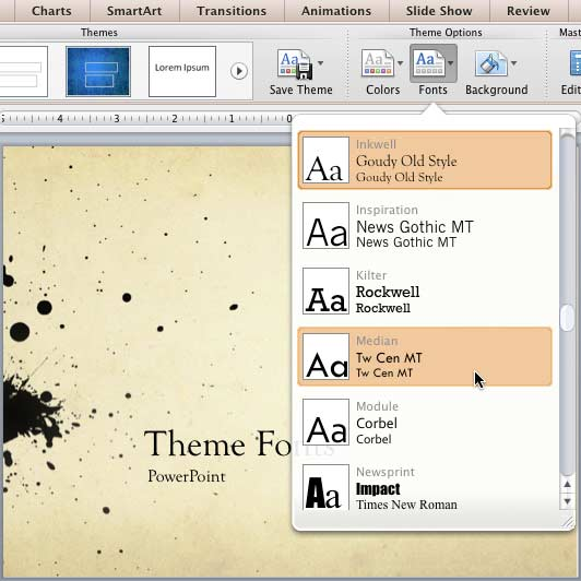 Median Theme Fonts set being selected