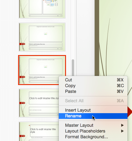 Rename option for the selected layout
