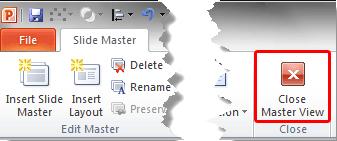 Close Master View button