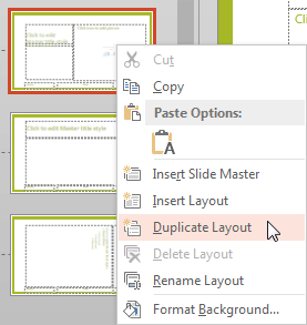Duplicate Layout option