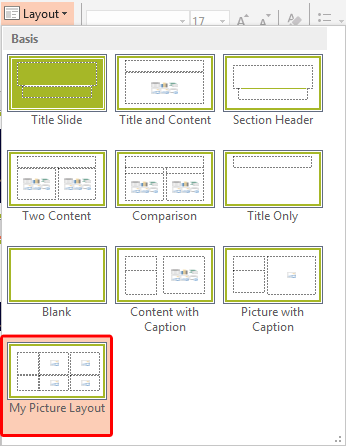 New Slide Layout within the Layout drop-down gallery