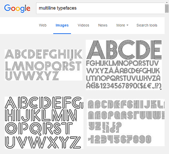 Multiline typefaces