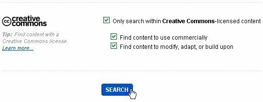 All the three checkboxes selected within creative commons section