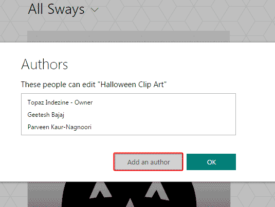 Authors window