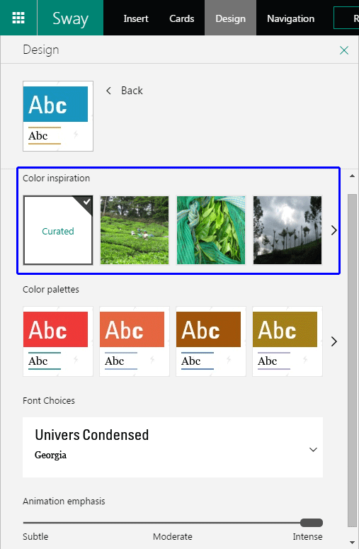 Customize options within the Design pane