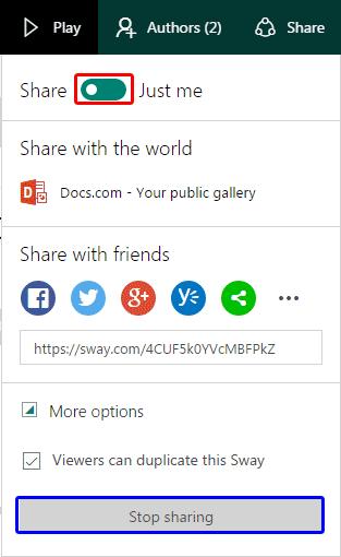 Share drop-down menu