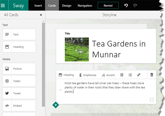 Text added within a Text Card in Sway