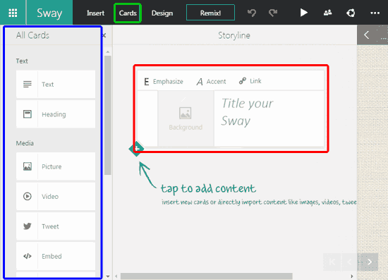 New Sway being created