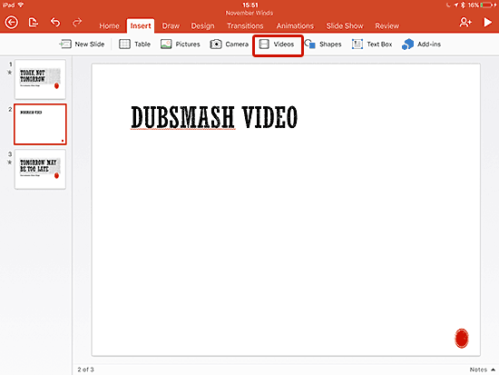 Slide for video