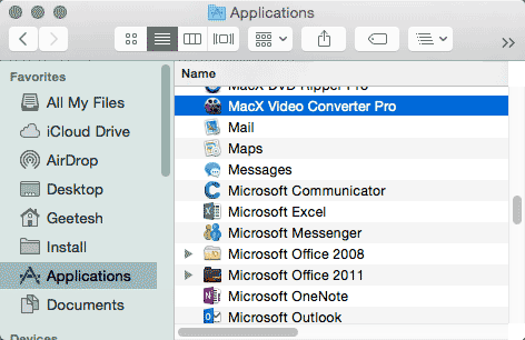 MacX Video Converter Pro within the Applications folder
