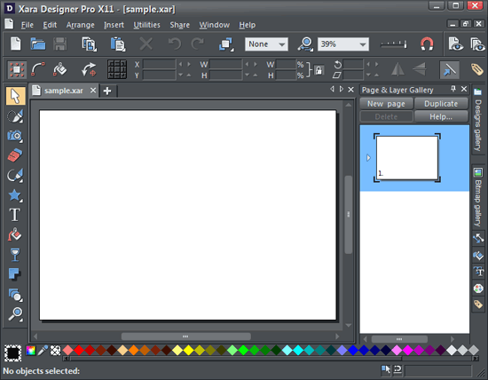 The Xara Designer Pro X11 interface