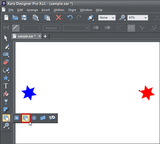 Blend Tool selected