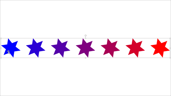Blended shapes placed in a PowerPoint slide