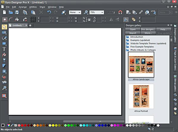 Xara Designer Pro X interface