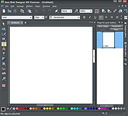 Xara Web Designer MX Premium interface