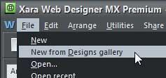 New from Designs gallery option to be selected