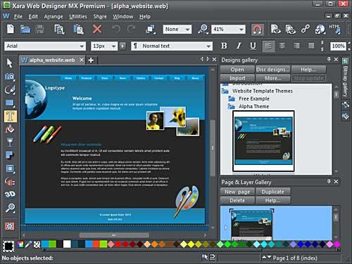 Web template opened within the Xara Web Designer MX Premium interface